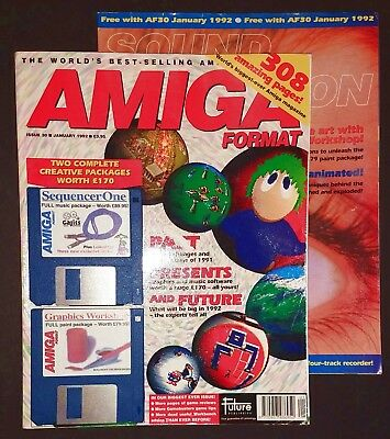 Amiga Format 30 (January 1992) Xmas Lemmings cover disk and Sound & Vision mag