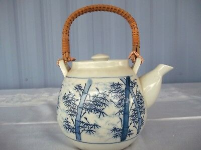 Blue Floral Japanese Ceramic Tea Pot with bamboo handles
