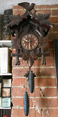 LARGE BLACK FOREST 30 hour CUCKOO CLOCK NEEDING PROBABLY MINOR ATTENTION