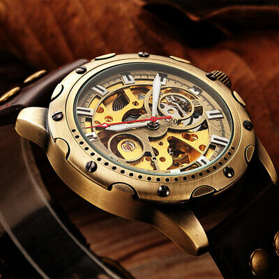 SHENHUA Luxury Leather Retro Automatic Mechanical Skeleton Watches Gifts For Men