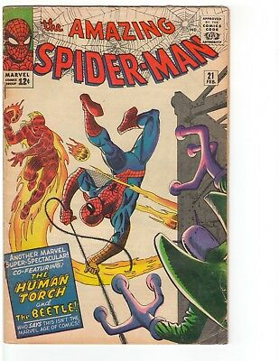 Amazing Spider-Man #21 2/65 Silver Age Human Torch Beetle