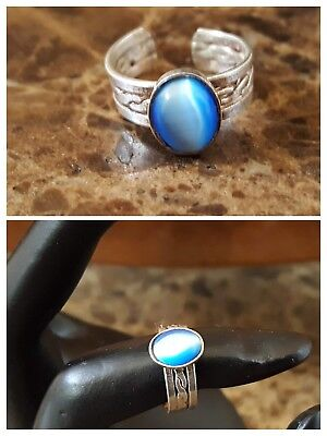 VTG Open Work Blue Moonstone ? Child Toe Pinky Cuff Ring Sterl Silver 925