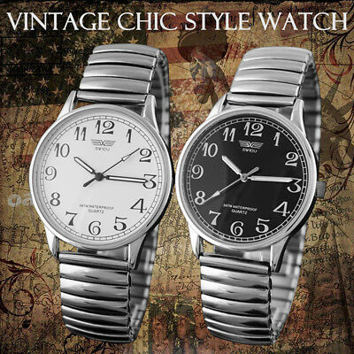 UK Womens Mens Couple Wrist Watch Stainless Steel Quartz Analog Jewelry Gift