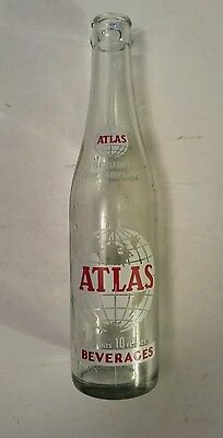 "Rare American (Detroit, Michigan) ""atlas Beverages"" 10 Oz Bottle Red/white Acl"