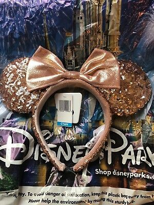 Disney Parks Rose Gold Minnie Ears Sequin Headband ADULT
