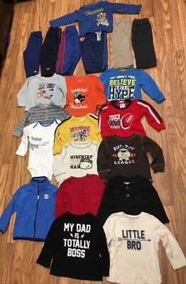 Lot of 21 + Baby Boys Clothes Pants Long Sleeve Shirts Jacket 18 Months Winter