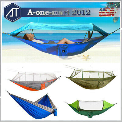 Double Person Hammock with Mosquito Net Outdoor Camping Pop-Up Hanging Sleep Bed
