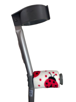 Crutch Handle Padded Covers HIGH QUALITY Cushioned Foam Pad  - White Ladybird