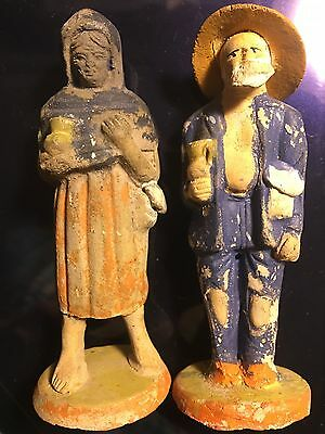Vintage Mexican Folk Art Clay Figures Handmade & Hand Painted Pair Of Man & Lady