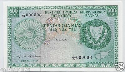 1974 Cyprus 500 Mils  # 000008  Low Serial #8  Central Bank Of Cyprus Banknote