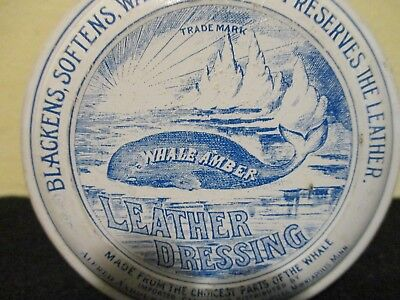 Antique Whale Amber Leather Dressing Tin ; Alfred Andresen & Co. advertising tin
