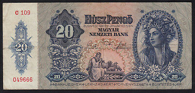 1941 Hungary 20 Pengo WWII Vintage Paper Money Banknote World War 2 II Currency