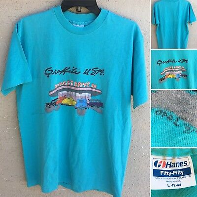 Vintage Graffiti USA Burge's Drive In 90s 1990s L Hanes Fifty-Fifty