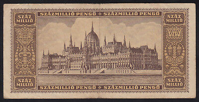 1946 Hungary 100 Million Pengo Vintage Paper Money Banknote Rare Antique Old