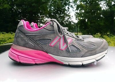 sports shoes 75b9a 7b336 NEW BALANCE WOMENS 990 V4 W990GP4 Athletic Running Shoes Grey Pink Sz 10.5