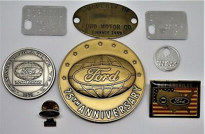 ~Property of Ford Brass Tag, 75th Anniversary Coins, Record & Detach Tags & Pins
