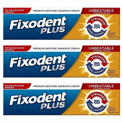 3x Fixodent Plus Dual Power For Full & Denture Adhesive Cream 40g RRP £6.99