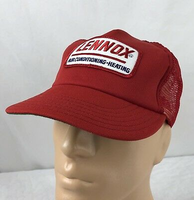 ac62613109d Vtg Lennox Air Conditioning Hat Snapback Trucker Cap Red Patch USA Mesh