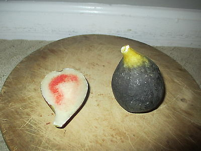 Early Antique Italian Alabaster Stone Fruit Marble Half Dark Fig Very Rare NM+