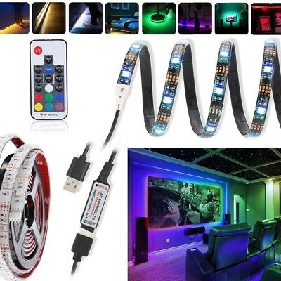 1M-3M RGB 5050 LED Strip Light 5V USB RF Wireless TV PC Monitor Back Lighting
