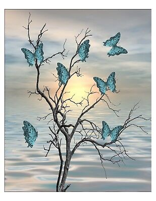 Teal Black Blue Butterflies Tree Foggy Photo Art Print Home Decor Picture & Mat