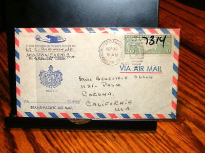 #7314,USS Calfornia Letter to Girlfriend,Sept 1941,Before Pearl Harbor Attack