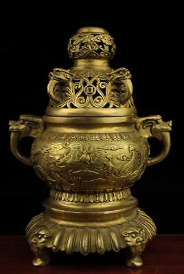 China old brass dragon and phoenix statue Incense Burner/qianlong mark e02
