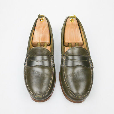 06952f5782e  345 QUODDY Maine Handsewn True Penny Green Horween CXL Leather Loafer Shoe  10.5