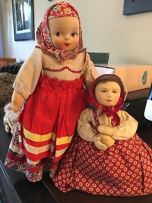 Vintage 2 Dolls1930s Mollye Russian Doll and Peasant Girl Soviet Union Tea Cozy