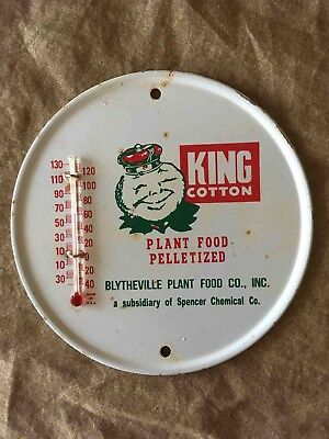 Vintage King Cotton Pelletized Plant Food Advertising Metal Thermometer