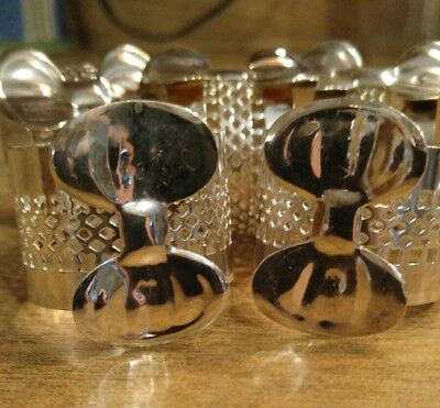 NAPKIN RINGS With Bows BEAUTIFUL Set of 5 SILVER PLATE