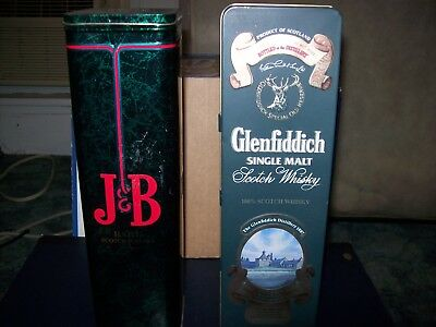 J&b Rare Scotch And Glenfiddich Scotch Whiskey Collectible Metal Tin Lot Of 2