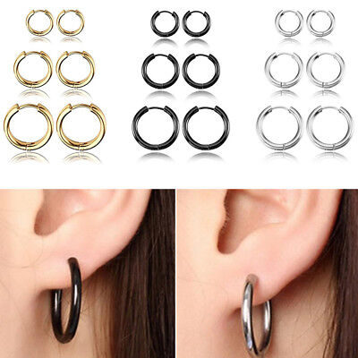 3Pairs/6pcs Mens Womens Stainless Steel Tube Hoop Huggie Ear Ring Stud Earrings