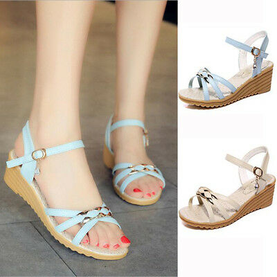 73d5461e0b02 Womens Ladies Ankle Strappy Open-Toe Platform Shoes Mid Heels Wedge Sandals  Size