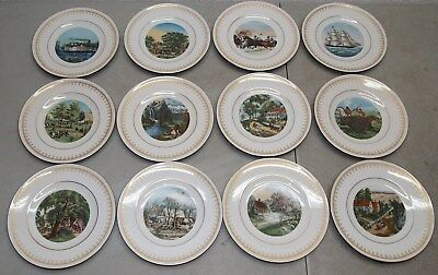 1977 DANBURY MINT Currier & Ives BING GRONDAHL 12 PLATE (Complete Collection!!)