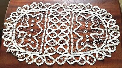 Antique Tape Lace Doily Oblong Oval Table or Dresser Scarf