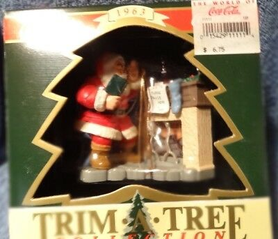 "Vintage Coca-Cola Trim-A-Tree Collection ""Santa at the Fireplace"" MIB"