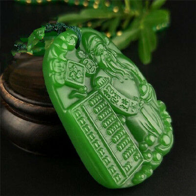 Jade statue 招财进宝 China natural Green jade pendant Necklace Amulet Lucky