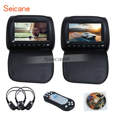 "2PCS 9"" TFT LCD Car Headrest Pillow Monitor CD DVD Player w/ Games+ IR Headphone"