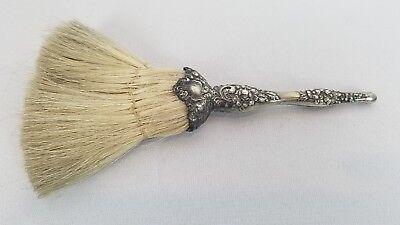 Antique Horse Hair Repoussed Silver Handle Brush