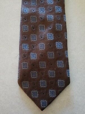Hugo Boss Men's Necktie Silk Made in Italy Geometric Brown Neck Tie Bronze Blue