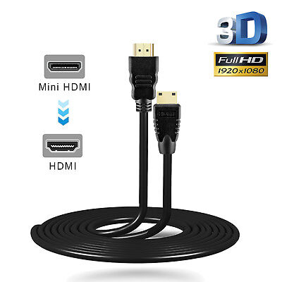 Mini HDMI to HDMI Cable 1m v1.4 High Speed with Ethernet Digital 3D HD 1080p 2M