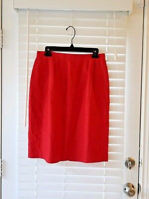 *Vintage* Liz Claiborne Bright Red Linen Skirt Size 12 Classic Pin Up