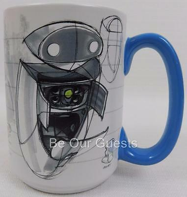 DISNEY STORE WALL-E Eve Concept Art Character Sketch Ceramic Coffee ...