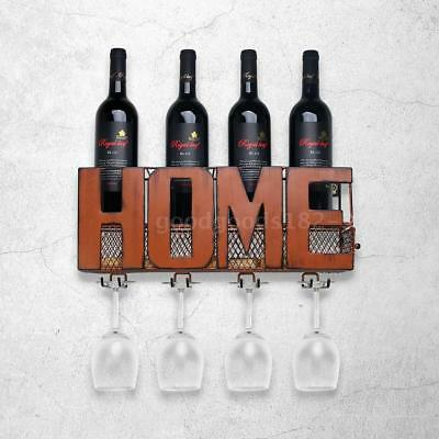 Wall Mounted Wine Rack Storage Container Glass Holder+ 5 Cork Charms U4P0