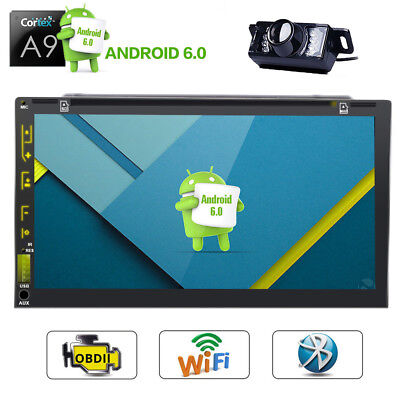 """7"""" Android 6.0 Car Radio Stereo DVD Player GPS Navi Wifi 3G BT Double DIN+Camera"""