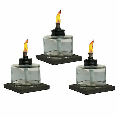TIKI Brand 4-Inch Mixed Material Votive Table Torch Brown, Clear 3-pack