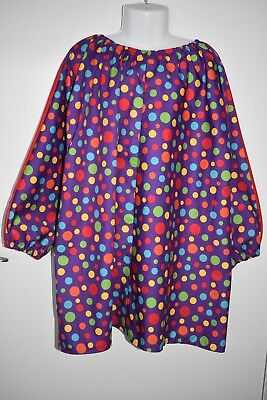 Child's Purple spot art smock, size 8-10 - handmade