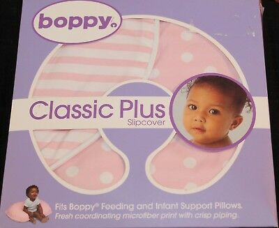 Boppy Pillow Slip Cover Pink Dot And Stripes 2 Sided