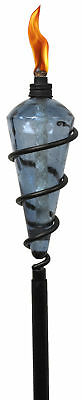 TIKI Brand 64-inch Swirl Metal Torch With Blue Glass Head